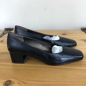 Allure black square toe heels, size 7M